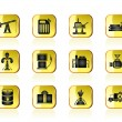 Oil and petrol industry icons — Stock Vector