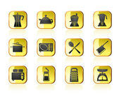 Kitchen and household equipment icons — Stock Vector