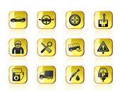 Icone di trasporto e servizi auto — Vettoriale Stock