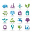Green, Environment and ecology Icons — Stock Vector