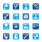 Iconos de objetos y herramientas de plomería — Vector de stock