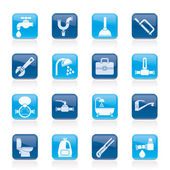 Plumbing objects and tools icons — Vecteur