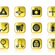 Car and transportation equipment icons - Stock Vector