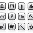 Mining and quarrying industry objects and icons - Stock Vector