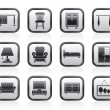 Home Equipment and Furniture icons — Stock Vector