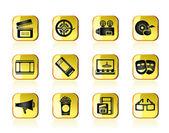 Movie theatre and cinema icons — Stock Vector