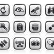 Optic and lens equipment icons — Stock Vector