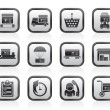 Logistic, cargo and shipping icons — Image vectorielle
