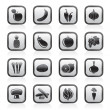 Different kind of fruit and vegetables icons - Stock Vector