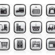 Storage, transportation, cargo and shipping icons - Stok Vektr