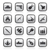 Army, weapon and arms Icons — Stock Vector