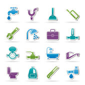 Plumbing objects and tools icons — Stok Vektör
