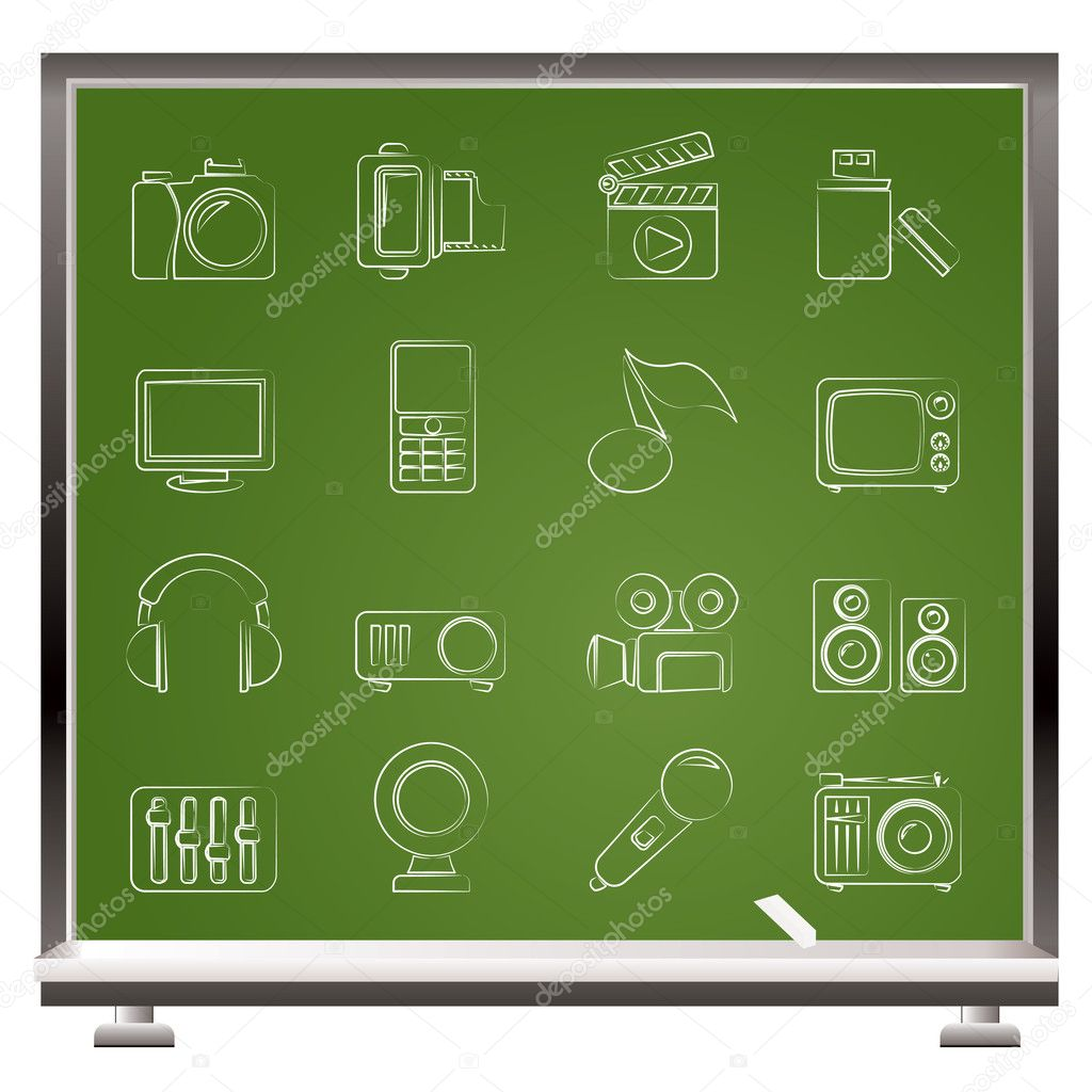 Multimedia and technology icons - vector icon set — Stock Vector #10560518