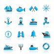 Marine, sea and nautical icons - Stock Vector