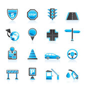Traffic, road and travel icons — Stock Vector