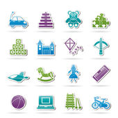 Different kind of toys icons — Stock Vector