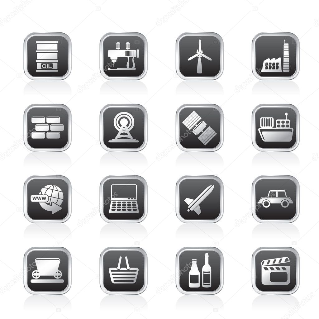 Simple Business and industry icons - Vector Icon Set — Stock Vector #7969274