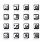 Mobiltelefon, dator och internet ikoner — Stockvektor