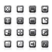 Telefoon prestaties, internet en office-pictogrammen — Stockvector