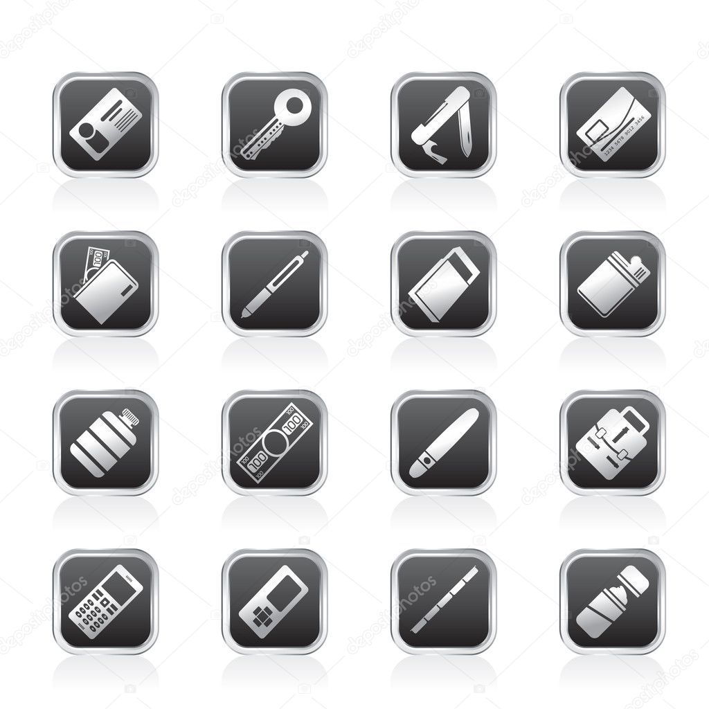 Simple Vector Object Icons - Vector Icon Set — Stock Vector #8064805