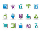 Bathroom and toilet objects and icons — Stock Vector