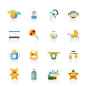 Baby, children and toys icons — Stock Vector