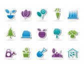Different Plants and gardening Icons — Stock Vector