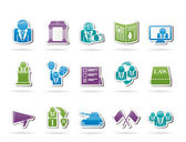 Politics, election and political party icons — Stock Vector