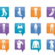 Woman and female clothes  icons - Stock Vector