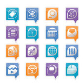 Mobile phone performance, internet and office icons — Stock Vector