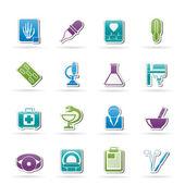 Icone di sanità e medicina — Vettoriale Stock