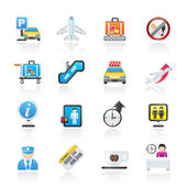 Airport and transportation icons — Stock Vector