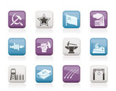 Communism, socialism and revolution icons — Stock Vector