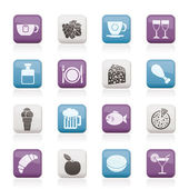 Food, Drink and beverage icons — Stock Vector