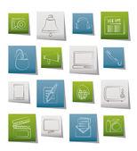 Iconos de comunicación y los medios de comunicación — Vector de stock