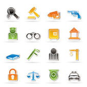 Law, Police and Crime icons — Stock Vector