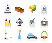 Funeral and burial icons — Stock Vector