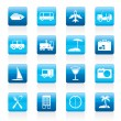 Travel, transportation, tourism and holiday icons — Stock Vector