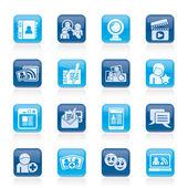социальные сети и коммуникации иконки — Cтоковый вектор