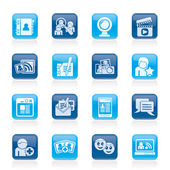 Social networking and communication icons — Vettoriale Stock