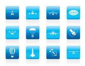 Different types of Aircraft Illustrations and icons — ストックベクタ