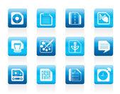 Téléphone mobile, ordinateur et icônes internet — Vecteur
