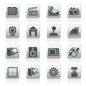 Pictogrammen voor internet, computer en mobiele telefoon — Stockvector