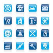 Transportation and car repair icons — Stock Vector