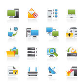 Computer Network and internet icons — Stock Vector
