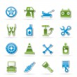 Transportation and car repair icons - Stockvektor