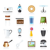 Café and coffeehouse icons — Stock Vector