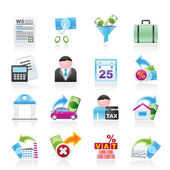 Taxes, business and finance icons — Stock Vector