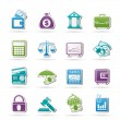 Business, finance and bank icons — Stock vektor