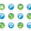 Cooking equipment and tools icons — Imagens vectoriais em stock